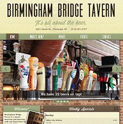 Birmingham Bridge Tavern Website Screenshot